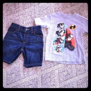 3T incredibles shirt and Arizona shorts